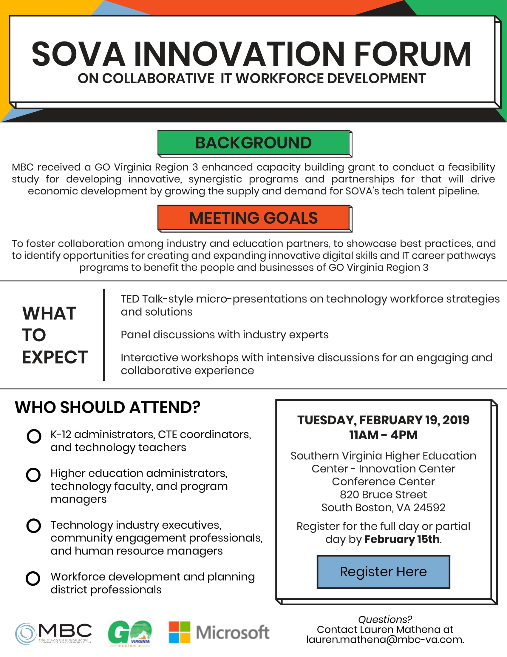 SOVA Innovation Hub Workforce Meeting Flyer